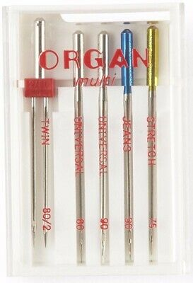 Domestic Sewing Machine Needles Mix Pack Twin Jeans Universal Stretch Organ