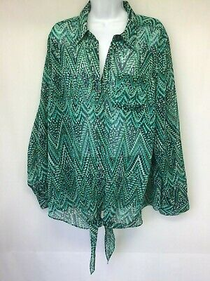 CHARTER CLUB Women Tunic Sheer Green Geo Print Roll Tab Sleeve Tie Waist Top 2X