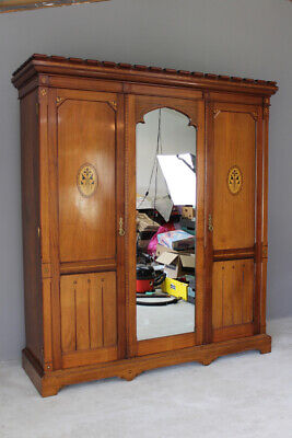 Antique Victorian Aesthetic Movement Triple Wardrobe