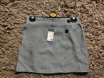 Primark Girls Kids Checked Style Skirt (Black & White) Ages 9-10 Years - BNWT