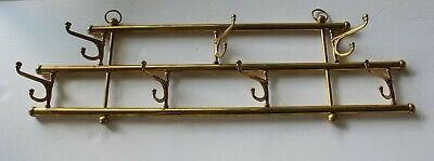 "Vtg Brass Coat Rack Hat Hangers 7 Hooks Retro Reclaim Farmhouse - 22"" Long"