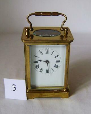 Good French Brass Carriage Clock : in Working Order with key : C.1900s