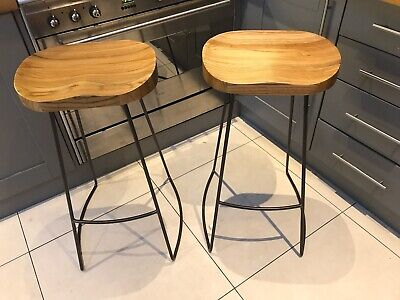 4 Beautiful Victorian Metal Rustic Bar stools With Solid Elm Seats New