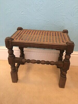 Antique Oak Stool String Woven Seat Barleytwist Legs Lovely Example 37 Cm High