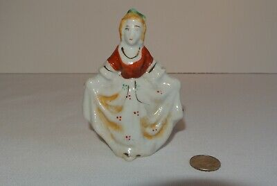 Vintage Hand Painted Female Statue - approx. 3 1/2""