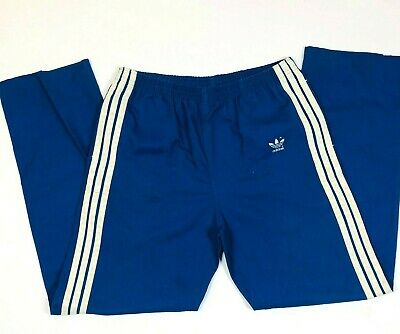 Vintage 70's Adidas Blue Firebird 3 Stripe Cotton/Poly Track Pants USA Made LG