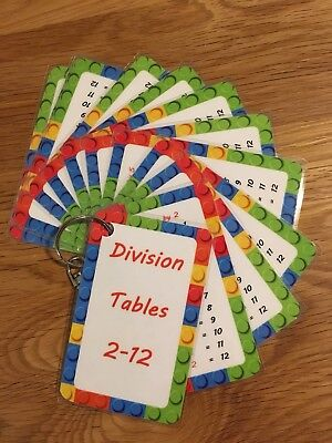 Division Flash Cards -Reverse of Times Tables- Pocket Size Home School Resource
