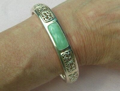 Vintage Signed Sterling Silver Filigree Wide Chinese Jade Bracelet Cuff Large Sz