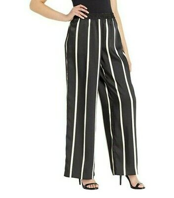 Vince Camuto Womens Sz S Black Dramatic Stripe Wide Leg Pull On Pants Relaxed