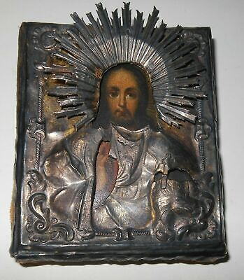 1850 Pantocrator Jesus Christ Russian Byzantine Empire Orthodox Icon Silver Riza