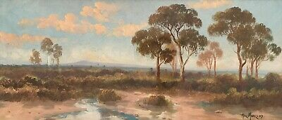 Original Oil Painting by Hal Morland (Australian circa 1911-1918) Mallee Country