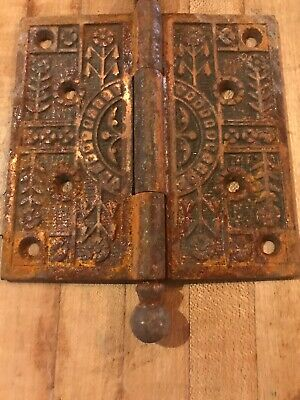 "ONE 5"" X 5"" Victorian Arts & Crafts Mission Cast Iron Antique Door Hinge Old"