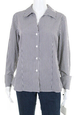 Calvin Klein Womens Striped Button Down Shirt White Grey Cotton Size 12