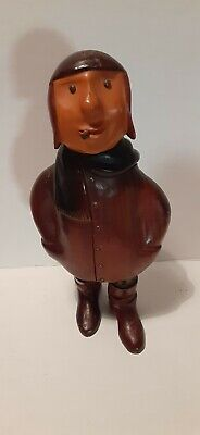 VIntage Characterful Carved Wood Pilot Figurine 10.75 In.Tall