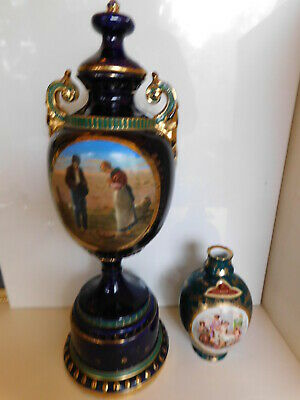 Two Pieces ROYAL VIENNA PORCELAIN Angelica Kauffman Painting Signed 16 Inch  Urn