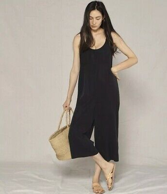 NWT Anthropologie x Outerknown Pali Playsuit Black L 12 Jumpsuit WideLeg Romper