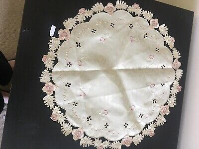 Doily Creme Pink Roses 50cm Shabby Vintage French Brand New