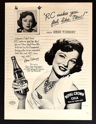 VINTAGE AD On The Rivera Movie 1951 GENE TIERNEY Loves ROYAL CROWN Cola RC