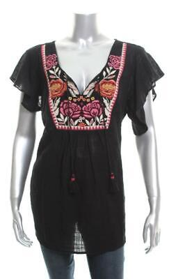 New Women's Style Co Embroidered Butterfly-Sleeve Top Traveler Black Small