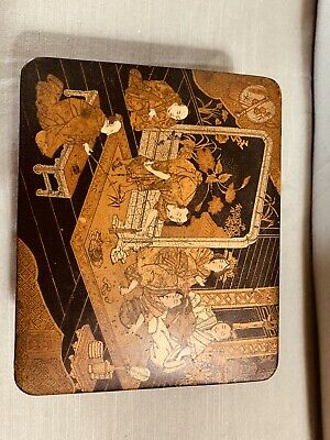 Wooden Hinged Lacquered Trinket Box * Vintage * Chinese * Beautiful