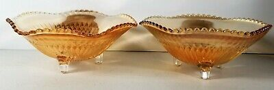 Glass Candy Dishes Set of 2 Iridescence Amber, Orange or Peach Colored 3 Footed