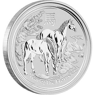 2014 2 oz Year of the Horse $2 Silver Coin - In capsule from The Perth Mint