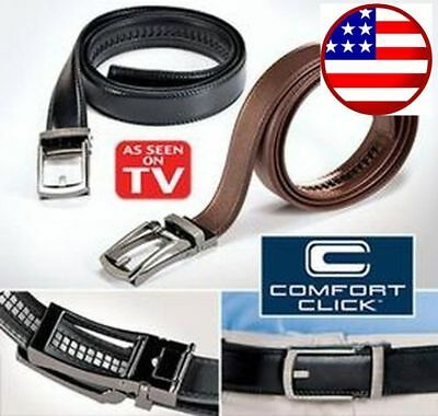 US Ship COMFORT CLICK Leather Belt Automatic Adjustable Men Gift As Seen On TV