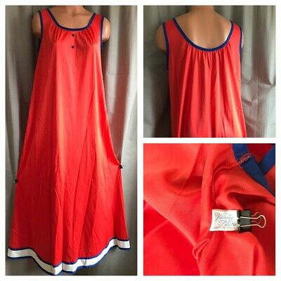 60's MCM Vanity Fair Nightgown Sleeveless Red Blue White Nylon Long Sweep Gown S