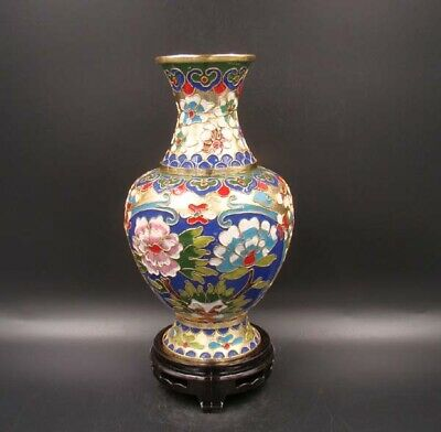 200mm Collectible Handmade Copper Brass Cloisonne Enamel Vase Deco Art