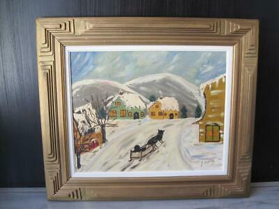 Vintage Primitive Oil Painting Of Winter Scene W/ Folk Tramp Art Wooden Frame