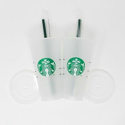 Two Starbucks Venti 24 fl oz Frosted Ice Cold Drink Reusable Cup