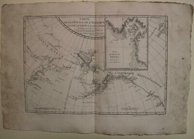 Bering Strait Norton Sound Northwest America Russia 1788 Bonne Antique Map