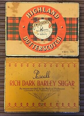 2 Vintage Lolly Confectionery Tins Pascall Barley Sugar,Highland Butterscotch