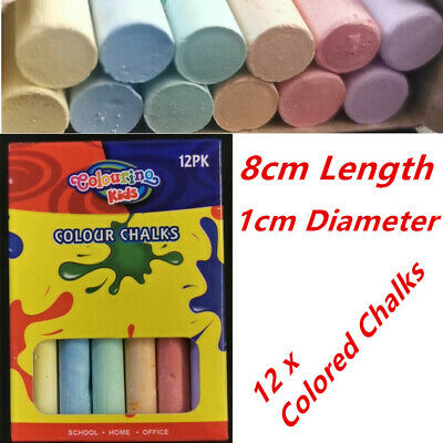 12 x Coloured Chalk Blackboard Art Colouring Paint Drawing Chalks Wall Message