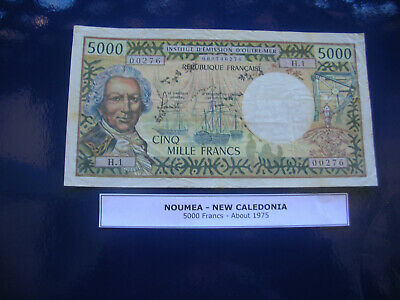 noumea-new caledonia bank note 1975 5000 francs hard to get