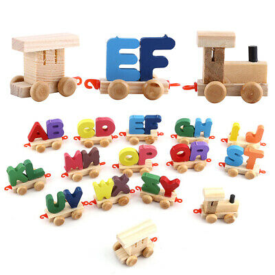 Wooden Train Set Alphabet Letters with Carriage Kids Toddler Educational Toys.