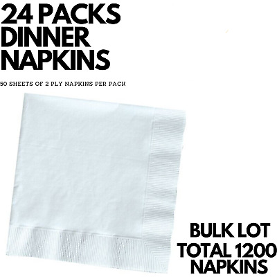 24 Packs DINNER NAPKINS Serviette 2-Ply Table Tissues Paper Bulk 1200 Sheets
