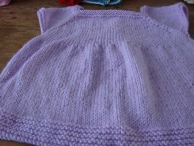 brand new hand knitted baby girl Lilac dress 20in 51cms 6/12 months