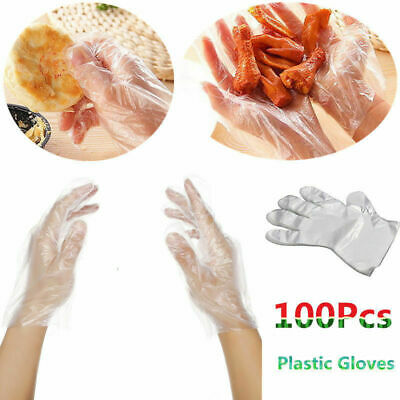 100X Plastic Disposable Gloves Food Cleaning Catering Beauty Safety Universal UK