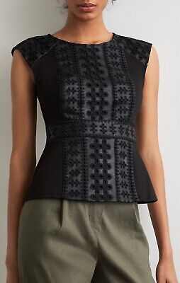 NWT BCBG MAX AZRIA Embroidered Faux Leather Peplum Top Size Medium Black