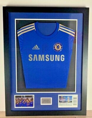 Framed Hand Signed Frank Lampard Chelsea FC Europa League 2013 Winning Shirt
