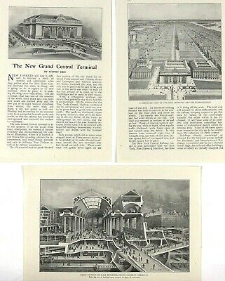 1912 Grand Central Station Print Views New York City NY Advertising Ads Lot Of 3