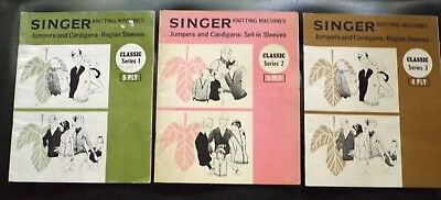"""3 """"Singer"""" Knitting Machines Classic Pattern Magazines  - V.g.cond  I Will Post"""