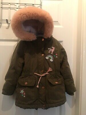 George Girls 3-4 Years Parker Coat Green Hooded Unicorm Rainbow Jacket