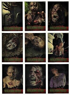 2011 Cryptozoic The Walking Dead Season 1 - 9 Card Walkers Gold Foil Chase Set