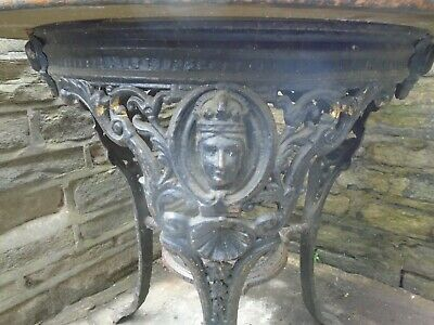 Vintage round cast iron pub table, A. Reynolds,bar fitters Leeds, delivery poss