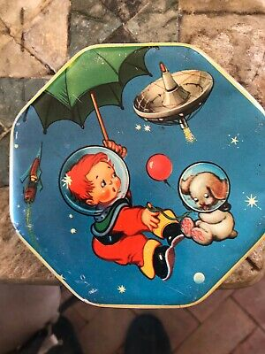 Retro English Toffee Tin.50'S?Great Condition For Its Age .Space Theme