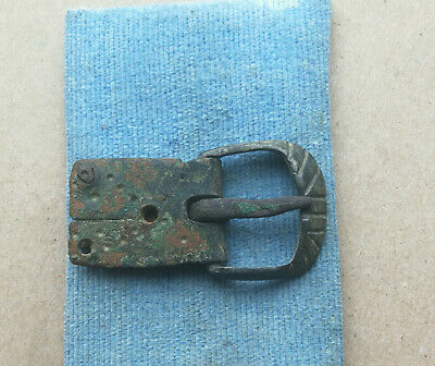 Authentic Medieval Viking Bronze Buckle With Ornament Very Rare