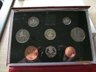 1990 red deluxe proof  set coinage of great Britain . from the royal mint.