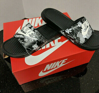 New Nike Womens Benassi JDI Black White Print Slides WMNS Size 10 42 618919-020
